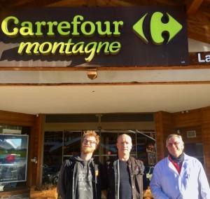 Alain, Michel et Jean-Baptiste Grangeon, à votre service au Carrefour Montagne de La Rosière.