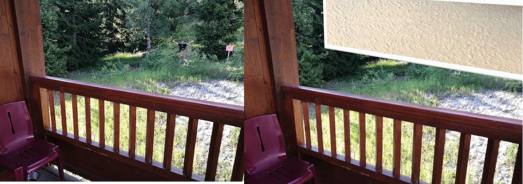 Sur ces deux photos prises du même appartement ,dans le chalet F des Cimes Blanches, à gauche, la vue actuelle sur la forêt. A droite nous avons matérialisé le mur qui s'élèvera à 15 mètres de ce balcon...